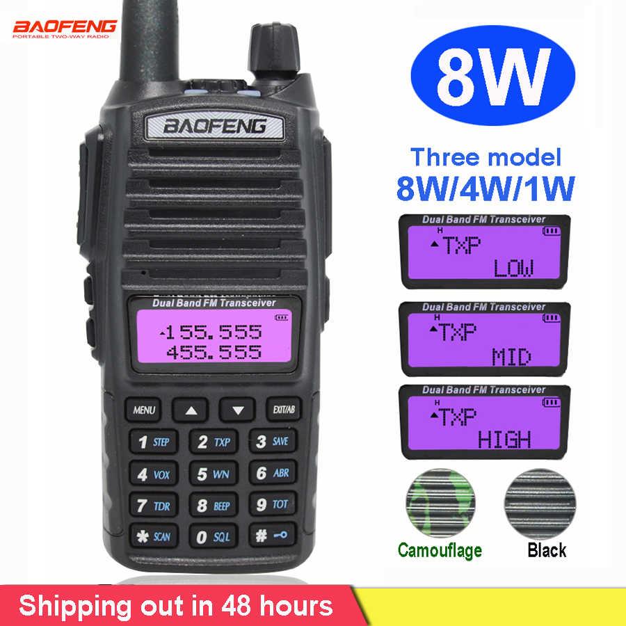8 واط راديو محمول لاسلكي تخاطب Baofeng UV-82 المزدوج PTT زر اتجاهين راديو Vhf Uhf المزدوج الفرقة Baofeng UV 82 UV82 اتجاهين راديو