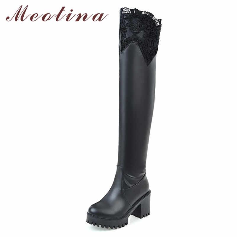 Meotina kış uyluk yüksek çizmeler kadın fermuar platformu kalın topuk diz çizmeler üzerinde seksi ince süper yüksek topuk ayakkabı bayan 33-43