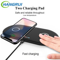 10W Double Qi Wireless Charger Pad for iPhone 11 XS XR X 8 AirPods 10W Dual Fast Charging Dock Station For Samsung S10 S9 Note 9 Wireless Chargers Cellphones & Telecommunications -