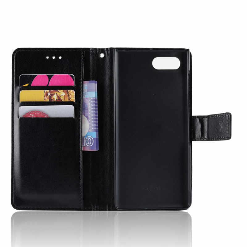 Flip caso de couro de luxo para blackberry key2 caso volta caso do telefone para blackberry key 2 bbf100 capa