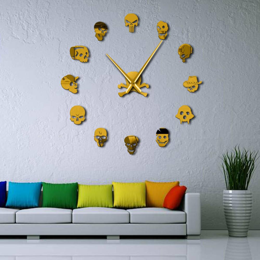 Creative skull big wall clock DIY Acrylic Silent Clock Living room background wall decorative mirror gold silver wall sticker in Wall Clocks from Home Garden