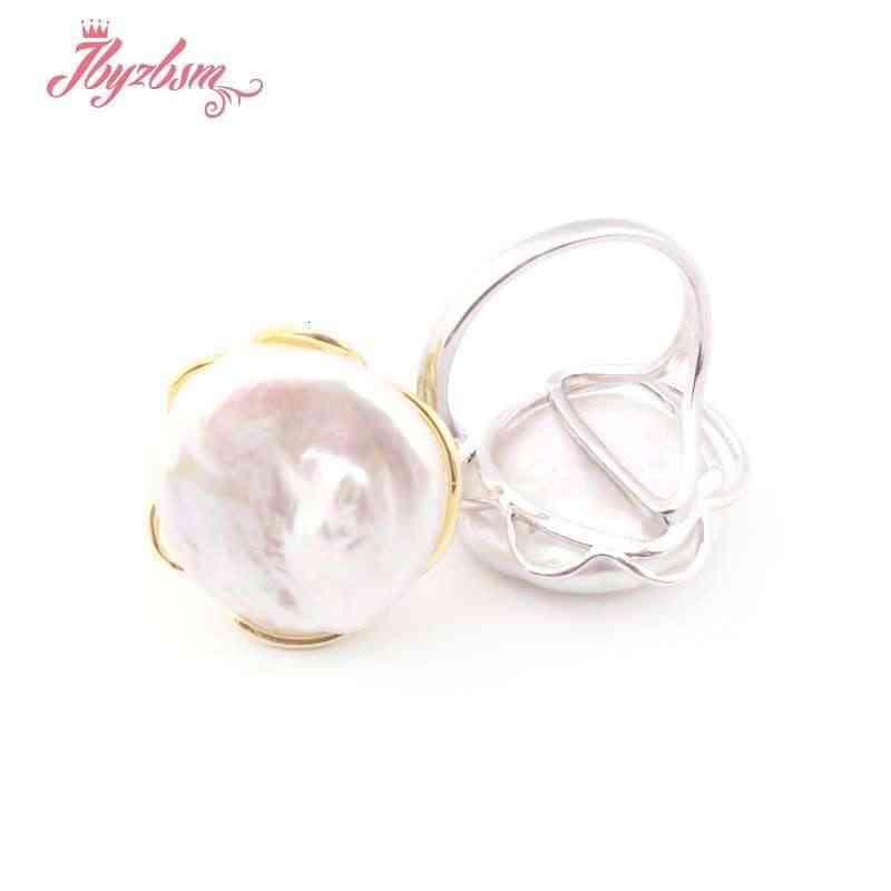 17-19 มม.เหรียญแหวนมุกน้ำจืดลูกปัด Natutal หินลูกปัดสำหรับของขวัญผู้หญิง Silver PLATE เครื่องประดับแหวนปรับขนาด: #8-#10 1 PC