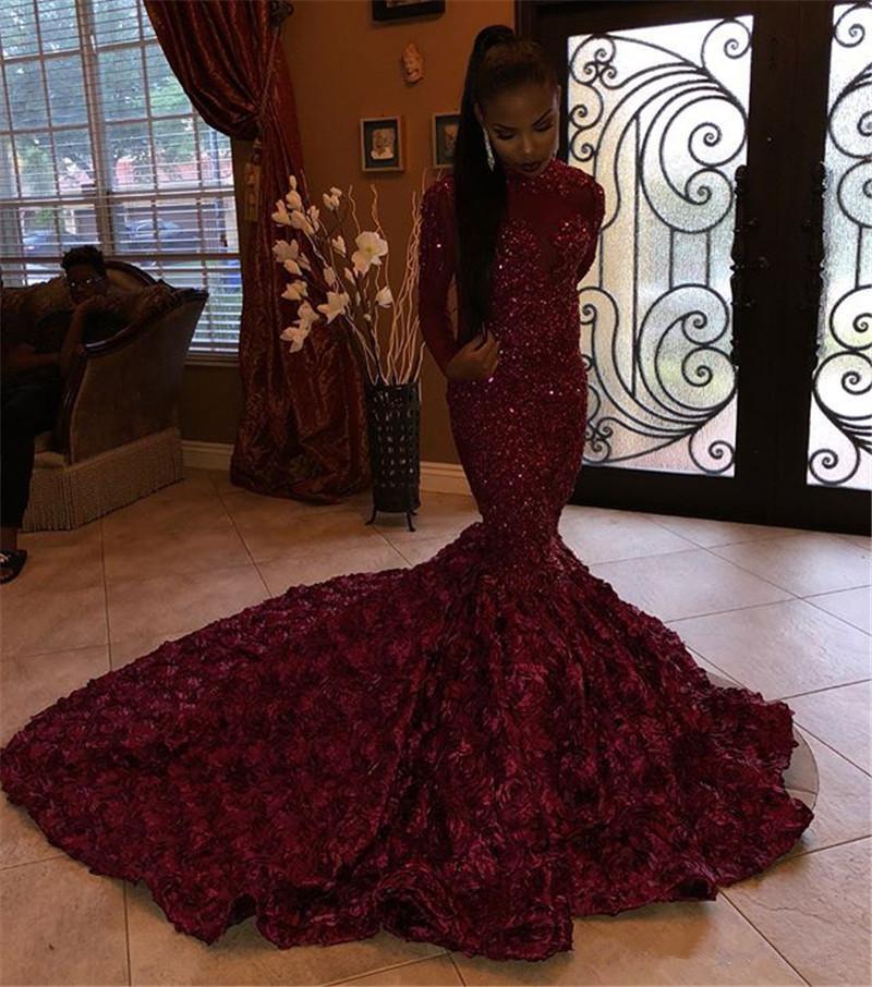 Burgundy   Prom     Dress   2019 Mermaid Long Sleeves Appliques Beaded Flowers Long   Prom   Gown Evening   Dresses   Robe De Soiree