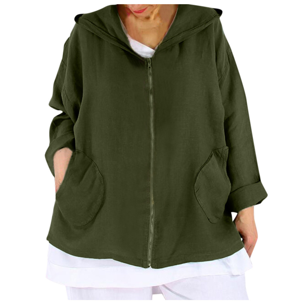 Women's Long Sleeve Jacket New Solid Color Zipper Pocket Hooded Autumn Top Fashion Sports Casual Loose Comfort Coat Abrigo#B