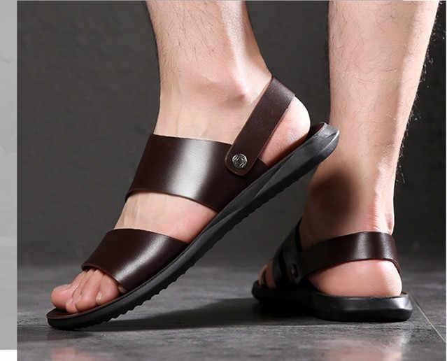 Prawdziwa skóra cielęca męskie sandały męskie klapki na lato, fajne męskie buty na plażę wygodne sandały sportowe kapcie w stylu