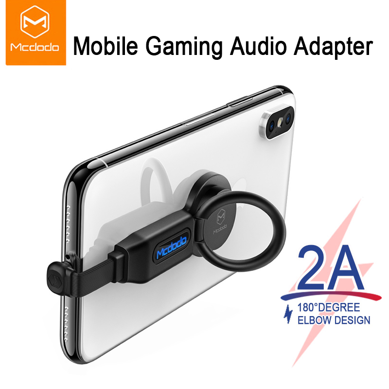 Mcdodo 5 In 1 For Lightning Audio Adapter Ring Holder Charger Adapter Fast Charging 2A Connector OTG For IPhone XR XS X 8 7 Plus