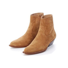 Ankle-Boots Designer Men's Genuine-Leather Fashion New Spring Catwalk Brown Handmade-Style