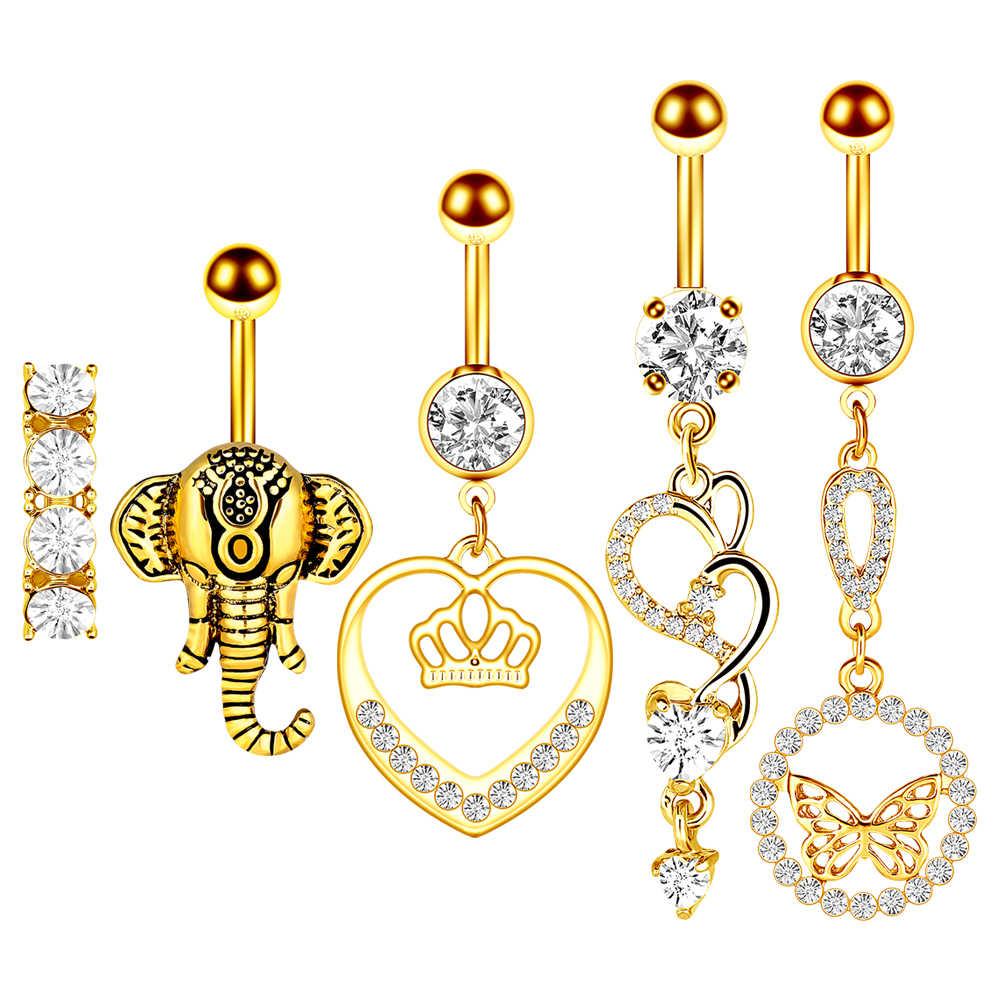 1/комплект из 2 предметов, золотистого цвета, принтом «сердечки» и милым кольцо пупка, хирургические Сталь бабочка пупок сексуальные ювелирные изделия живота Бар Piercing Nombril Titane