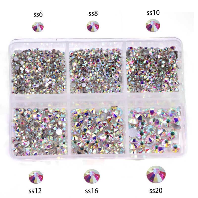 1200pcs Mix Miscela di Formati di Vetro di Cristallo Non Hot Fix Set di Strass Flatback di Cristallo Del Chiodo Strass Diamante Per Le Decorazioni FAI DA TE B3900