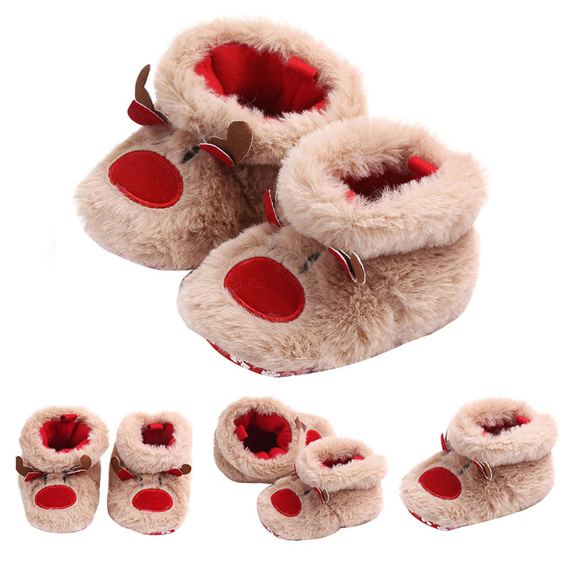 Winter Cute Cartoon Deer Baby Slippers Baby Warm Cotton Shoes Boys Girls House Indoor Animal Crib Shoes