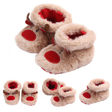 Winter Cute Cartoon Deer Baby Slippers Baby Warm Cotton