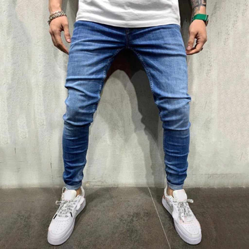 Men Casual Loose Letter Solid Drawstring Elastic Waist Denim Long Pants Trousers Jeans Skinny Ripped Destroyed Stretch Slim Fit
