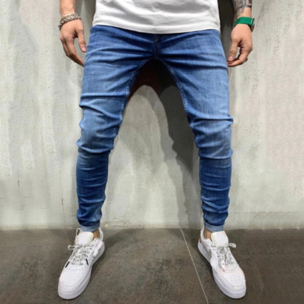 Jeans Skinny Trousers Destroyed Letter Long-Pants Stretch Slim-Fit Ripped Loose Men Denim title=