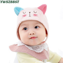 Fashion cat print Newborn Baby Hat with ears Autumn for Boys Girls Soft Cotton Infant Cap Toddler