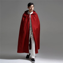 Chinese Style Long Hooded Red Cloak Men Cotton Linen Mens Trench Coat Loose Ponc