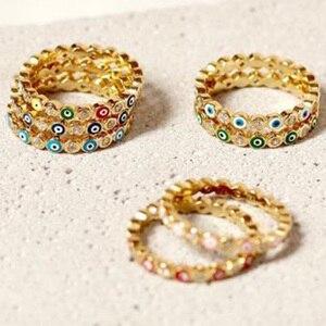 2020 New Bohemian Rainbow Evil Eye Rhinestone Filled Gold Rings For Women Vintage Ladies Midi Kunle Finger Ring Gold Ring Sets(China)
