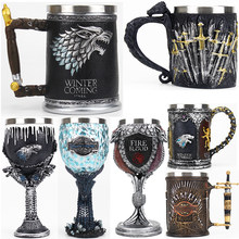 Game of Thrones Mug Goblet Stainless Steel Resin 3D Beer Tankard Coffee Cup Wine Glass Mugs 600ml 400ml 200ml BEST GOT Fan Gift(China)