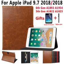 Premium Leather Smart Case for Apple iPad 9.7 2018 6 6th Generation A1893 A1954 9.7 2017 5 5th Gen A1822 A1823 Cover +Flim+Pen a1893 a1954 for ipad 9 7 2018 touch screen glass digitizer panel replacement for ipad 6 6th gen a1893 2018 version touchscreen