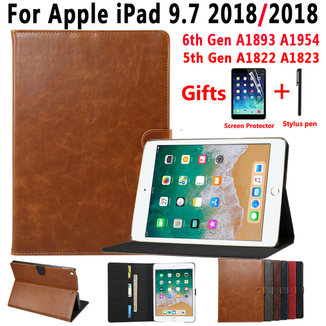 Premium Leather Smart Case for Apple iPad 9.7 2018 6 6th Generation A1893 A1954 9.7 2017 5 5th Gen A1822 A1823 Cover +Film+Pen