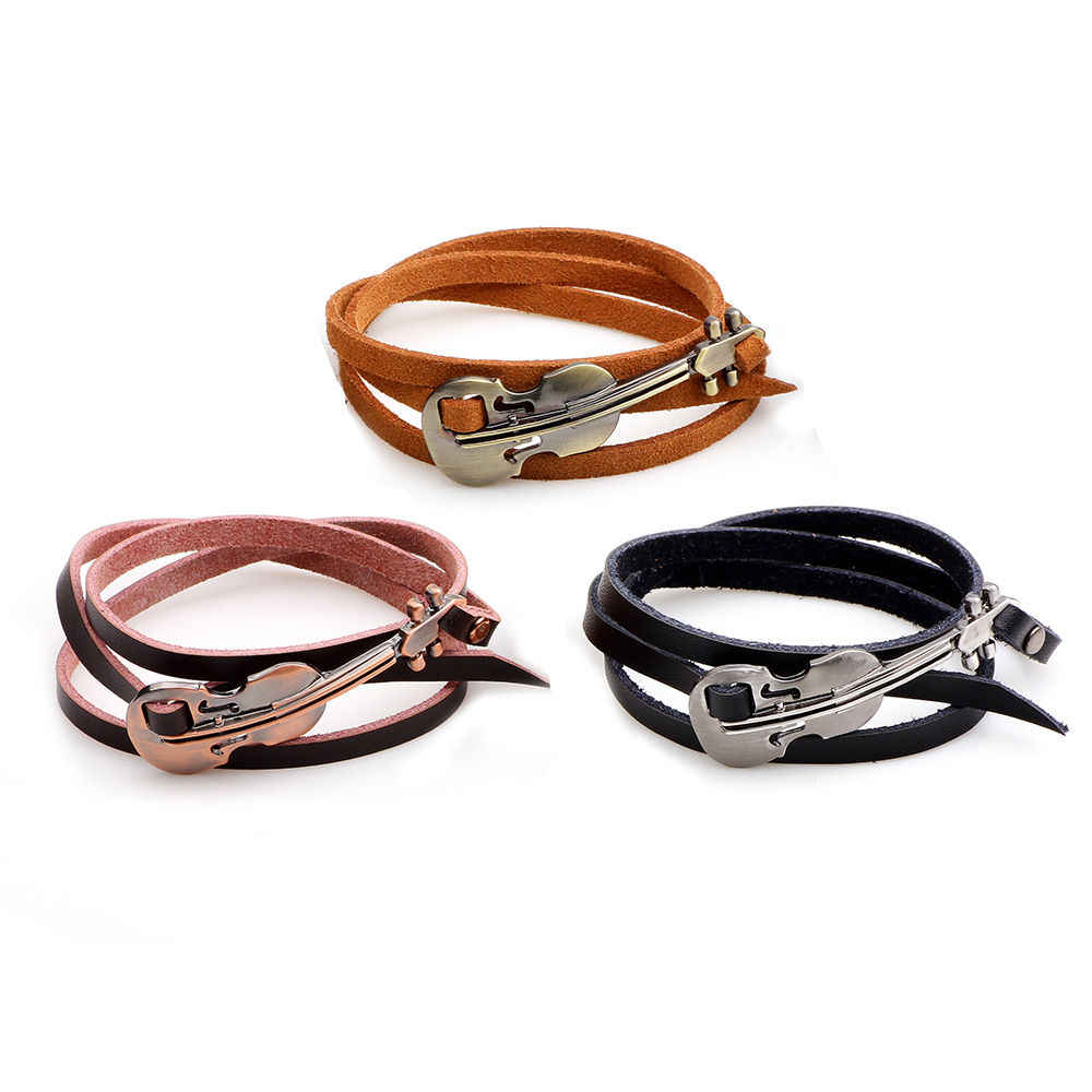 Exquisite Multilayer Leather Bracelet Bangles 3 Color Metal Violin Guitar Accessories  Bracelet  for Men Women Party Jewelry