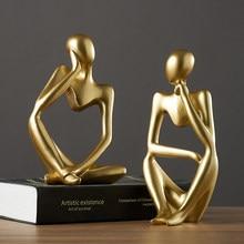 Estátuas de resina forgetive nordic pensadores abstratos pessoas esculturas estatuetas em miniatura artesanato escritório decoração para casa acessórios