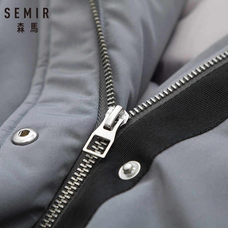 SEMIR ผู้หญิงลงเสื้อที่มีกระเป๋าเบาะบรรจุลง Coat Parka ที่ถอดออกได้ Faux-fur-trim ที่ Hood Elasticized cuff กลับ Vent