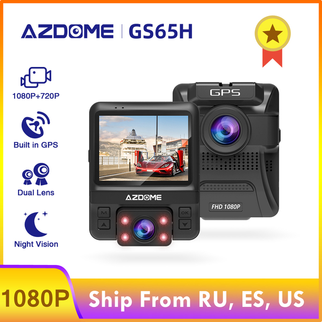 $ US $54.60 AZDOME Original Car DVR Mini Dual Lens Dash Cam Front Full HD 1080P / Rear 720P GS65H Video Recorder Car Camera Night Vision GPS