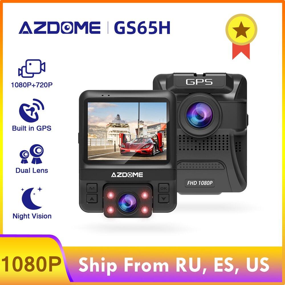 AZDOME oryginalny samochód DVR Mini podwójny obiektyw kamera na deskę rozdzielczą przód Full HD 1080P/tył 720P GS65H wideorejestrator kamera samochodowa noktowizor GPS