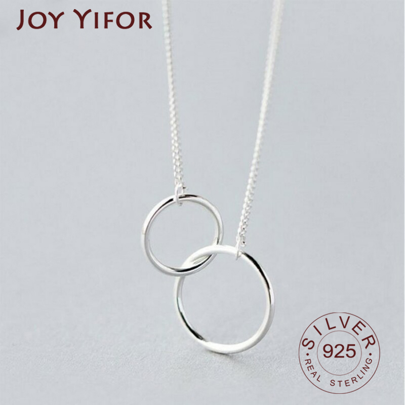 925 sterling silver Double Circle Interlock Clavicle Short Necklace Silver Color Necklace For Women collares erkek kolye