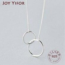 925 серебро двойной круг кирпечей из глины короткое ключичное ожерелье серебро Цвет ожерелье для женщин в стиле collares erkek kolye