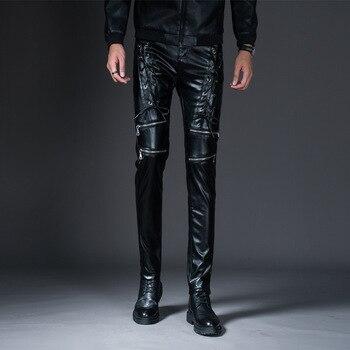 Personality Mens Leather Pants Winter Slim Feet Pant Men Clothes 2020 Hip Hop Ropa De Hombre Fashions