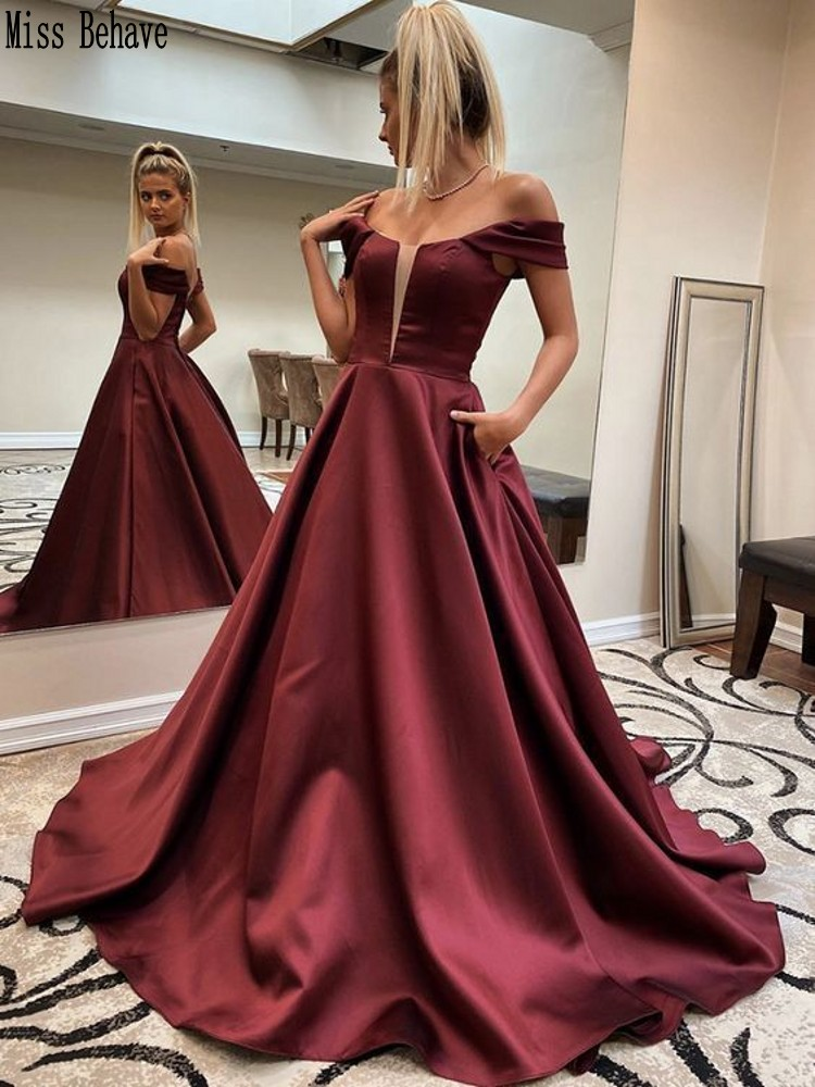 DD JYOY Off Shoulder Evening Dress 2020 Simple Style Burgundy Satin Long Formal Evening Gown Small Train Long Prom Dress