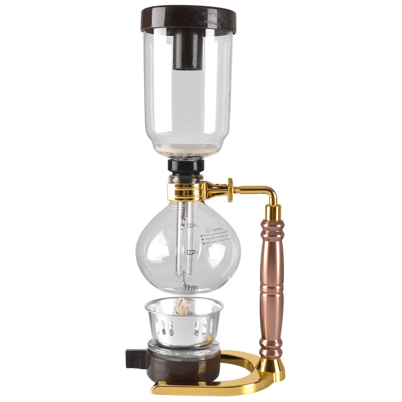 New Hot Japanese Style Siphon Coffee Maker Tea Siphon Pot Vacuum Coffee Maker Glass Type Coffee Machine Filter 3 Cups Gold