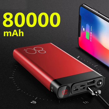 Power Bank 80000mAh Quick Charge Dual USB Large Capacity Fast Charging Portable Powerbank for IPhone