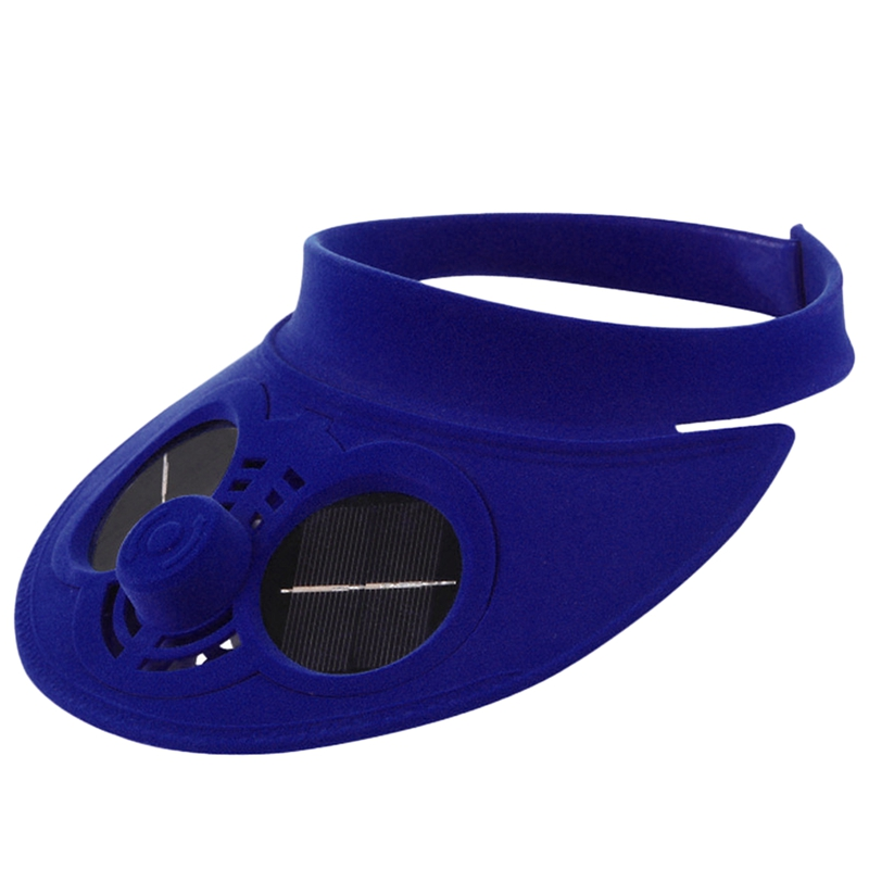 Blue Summer Sport Outdoor Hat Cap With Solar Sun Power Cooling Fan Bicycling Climbing Small Air Conditioning Appliances Solar Fa
