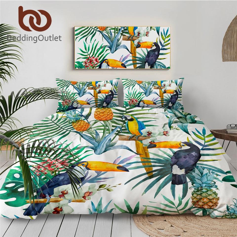 BeddingOutlet 3 Pcs Toucan Duvet Cover With Pillowcase Tropical Plant Pineapple Bedding Set Soft Flower Quilt Cover Wholesale 1