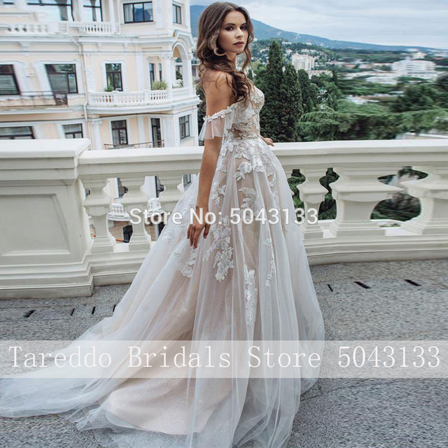 Sexy Sweetheart A Line Lace Appliques Wedding Dresses Off Shoulder Chic Sleeveless Tulle Wedding Gowns Formal Bride Dress 2020 4