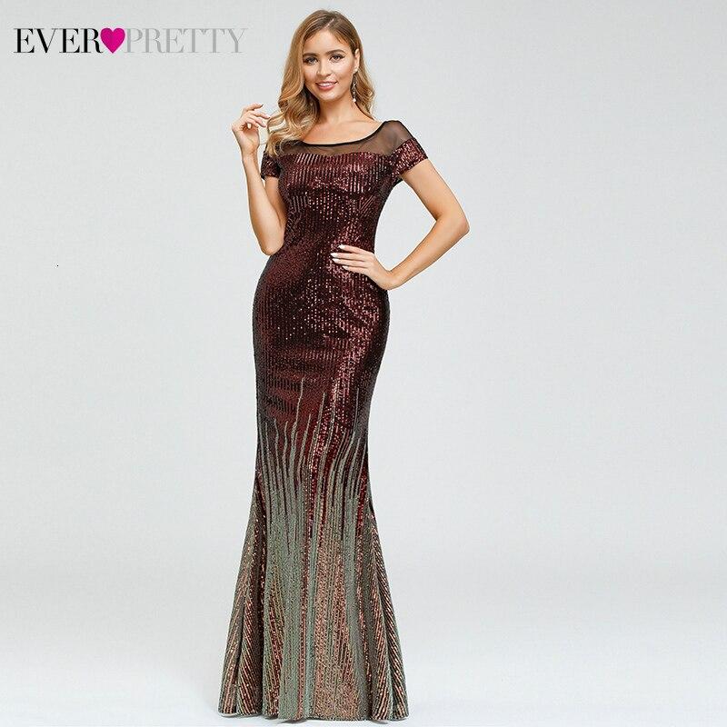Vestidos de Noche de lujo personalizados siempre bonito EP00884 manga de casquillo a rayas lentejuelas Sexy árabe vestidos de fiesta de estilo sirena Dluga Sukienka