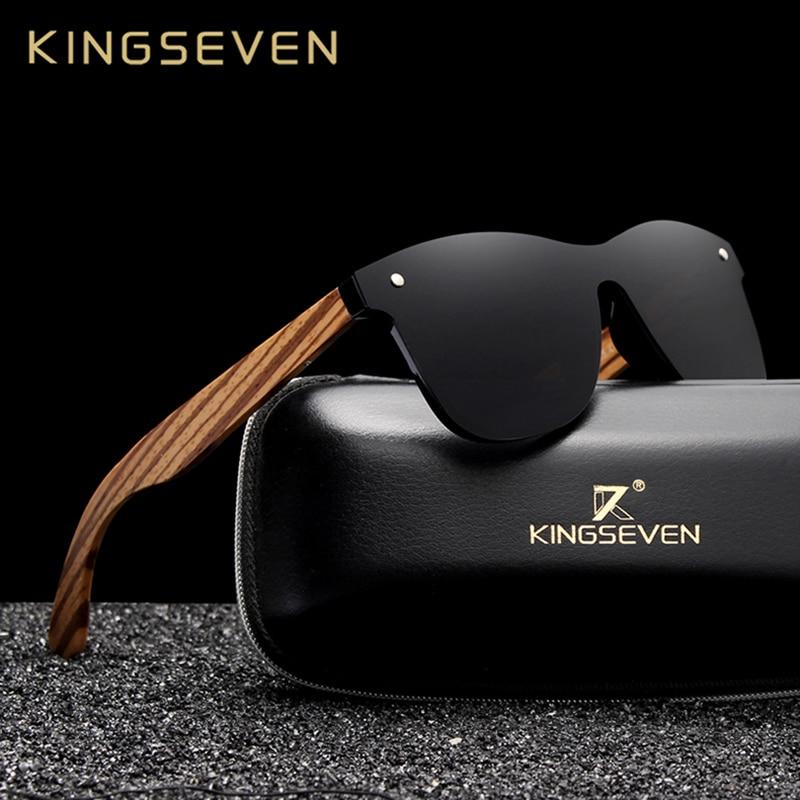 KINGSEVEN 2019 Polarized Square Sunglasses Men Women Zebra Wooden Frame Mirror Flat Lens Driving UV400 Eyewear Men's Sunglasses  - AliExpress