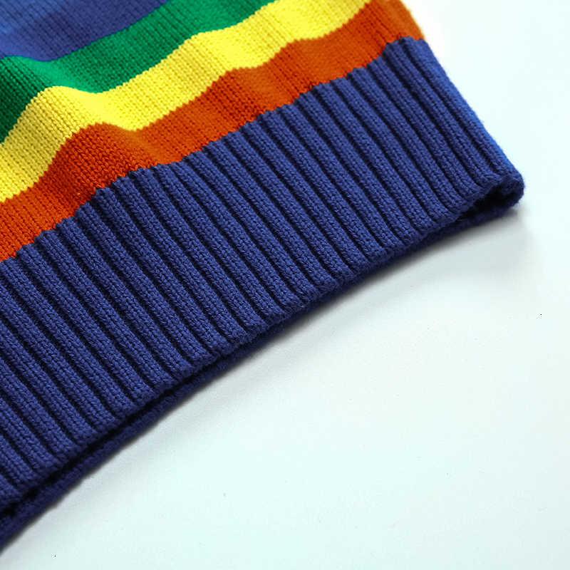 Suéter de cuello redondo con rayas arcoíris para hombre tejido 100% de algodón de manga larga ropa interior cálida moda Otoño 2019 para hombre