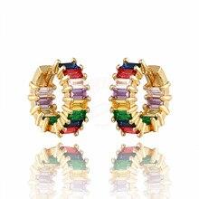 QITIS Fashion Brass Multi Cubic Zirconia Earrings Stud Free lady punk for Women Girls Party Trendy Jewelry Gift