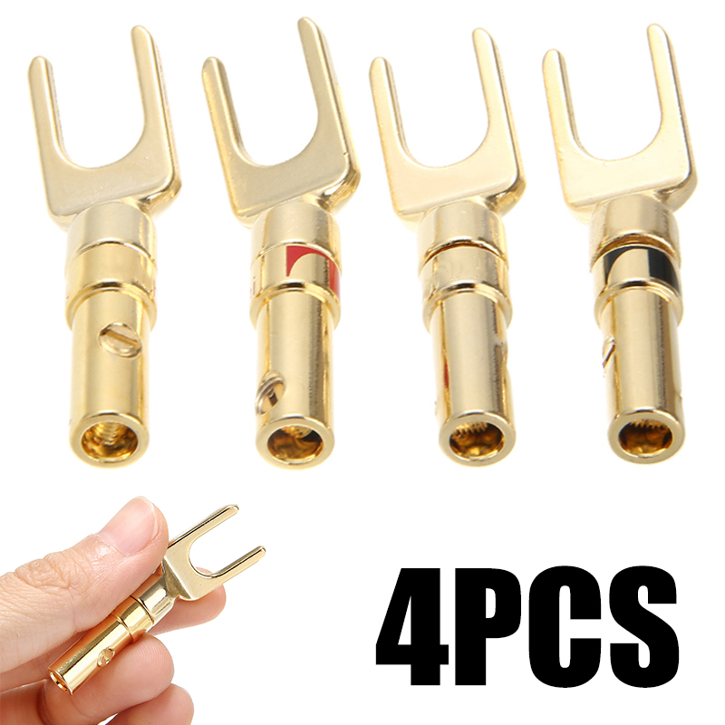4pcs/pack Spade Speaker Y Fork Connectors Gold Plated Cable Terminal Audio Plug For Binding Post Banana Jack Adapter