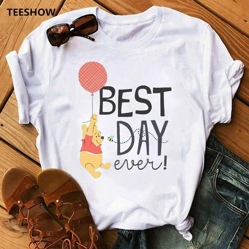 Summer Cute Female Tshirt  Winnie-the-pooh Cartoon Print White Short Sleeve Tops & Tees Fashion Casual T Shirt Women Clothing