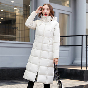 Image 2 - Autumn Winter Jacket Women Long Hooded Warm Overcoat Womens Down Jackets 2019 Fashion Plus Size 6XL Solid Color Parka Coat