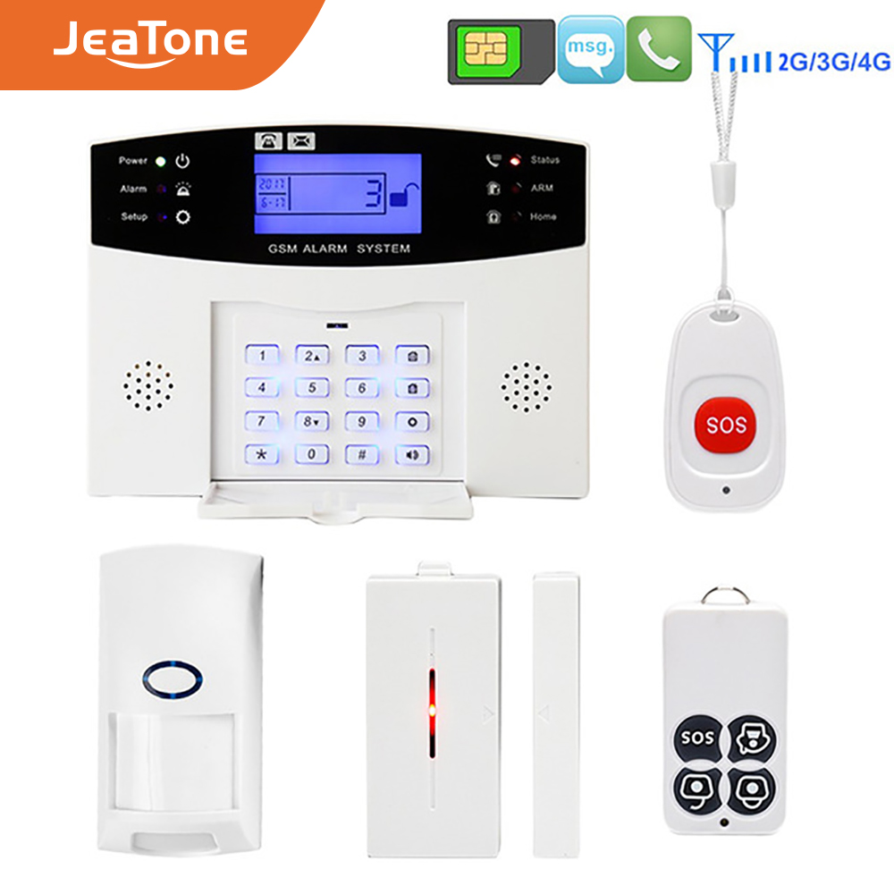 Wireless GSM Home Security Burglar Alarm DIY Kit LCD Display SIM SMS Alarm System APP Control Android IOS Pet Immune key control image