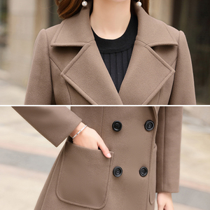 Image 5 - 모직 여성 자켓 코트 긴 슬림 블렌드 겉옷 2019 새로운 가을 겨울 착용 오버코트 여성 숙녀 모직 코트 자켓 의류