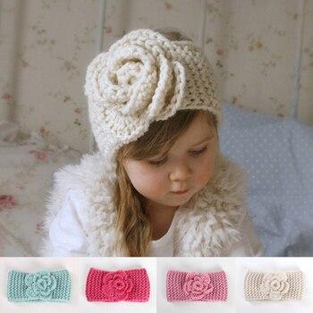 Tricoté fleur bébé bandeau enfants bébé nœuds Turban bandeau hiver chaud enfants infantile bandeau Haarband bébé cheveux accessoires