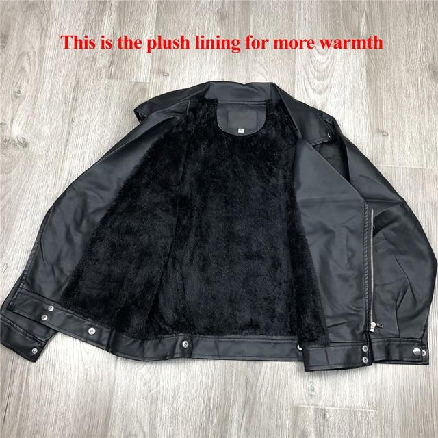 Aelegantmis – Veste en faux cuir pour femme, nouveauté, tenue de motard classique, manteau simple, grande taille, vêtement pour automne et hiver 5