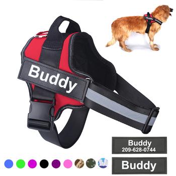 Spersonalizowane szelki dla psa bez ściągania odblaskowe oddychające regulowane uprząż zwierzęca na małe duże smycz dla psa z niestandardową łatką tanie i dobre opinie Bolux Uprzęże Kamizelka Szelki CN (pochodzenie) NYLON Wszystkie pory roku Stałe Leash Accessories DD191