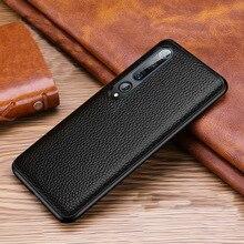 Genuine Cow Leather Case For Xiaomi Mi 10 Case Funda Soft Litchi Grain Genuine Leather Case For Xiaomi Mi10 Pro Back Cover tz06 ostrich foot pattern genuine leather half case for xiaomi mi max 3 7 0 phone case for xiaomi mi max 3 back case